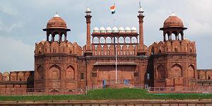 Das Lal Quila oder Rote Fort, eines der berühmtesten Gebäude Old Delhis