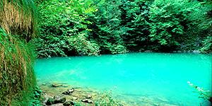 Türkisfarbene Quelle des Flusses Kupa