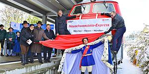 Zugtaufe für den neuen Neuschwanstein-Express in Füssen